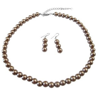 Synthetic Pearls Brown Pearls Necklace & Earrings Wedding Jewelry Set