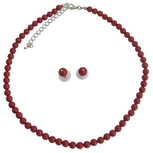 Coral Red The Hand Made Swarovski Pearls Both and Maid Jewelry Set
