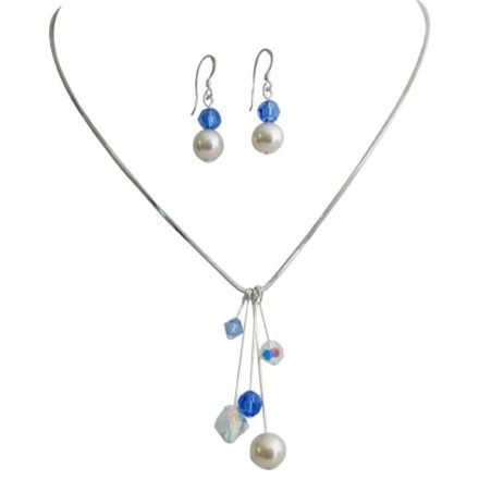 Ivory/Blue Tinkerbell Necklace Earrings Ab Sapphire Crystals Pearls Jewelry Set