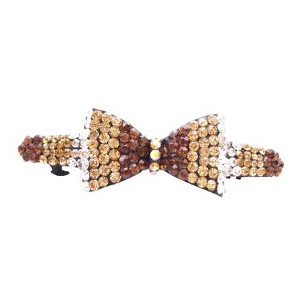 Topaz/Brown Top Style Barrette Fully Embedded Crystals Barrette Hair Accessory