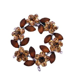 Brown Topaz with Flower Crystals Brooch/Pin