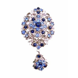Silver/Blue Trendy Sapphire Crystals Stylish Brooch/Pin