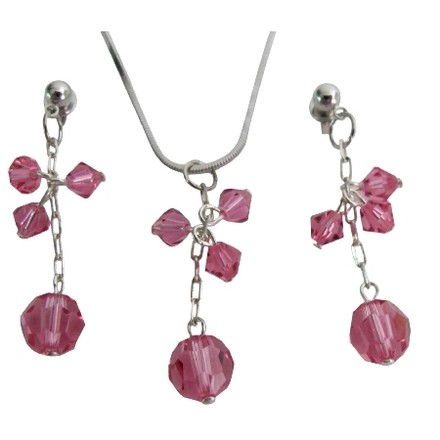 Pink Unique Gift Woman Romantic Touch Rose Crystal Pendant Earrings Jewelry Set