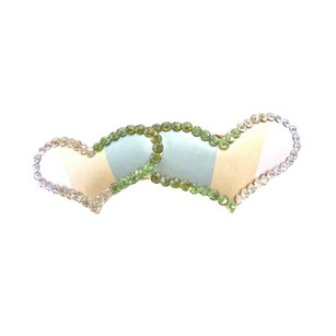 Green Valentine Gift W/ Heart Barrette Peridot Clear Olivine Crystals Hair Accessory