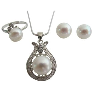 Wedding Freshwater Pearls Teardrop Pendant Necklace Earrings Ring