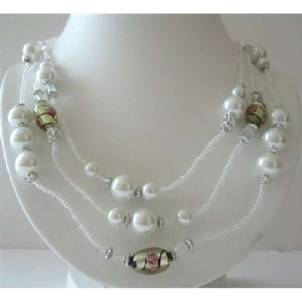 White Beaded 3 Stranded Simulated White Pearls Millefiori Necklace