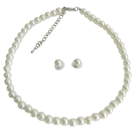 Fashion Jewelry For Everyone Ivory Pearl Elegant Single Strand Stud Earrings Necklace