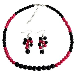 Fashion Jewelry For Everyone Fascinate Wedding Jewelry In Magenta Black Pearl With Grape Earrings Set