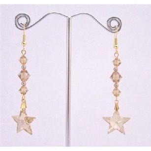 Fashion Jewelry For Everyone Golden Shadow Star Earrings W/ Lite Colorado Bicone Bead Earrings