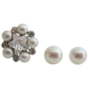 Fashion Jewelry For Everyone Gorgeous Gift Ring & Stud Earrings Oyster Shell White Pearl