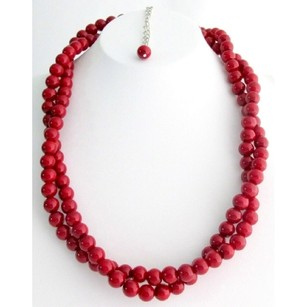 Fashion Jewelry For Everyone Holiday Gift Red Jewelry Twisted Red Pearl Double Strand Necklace