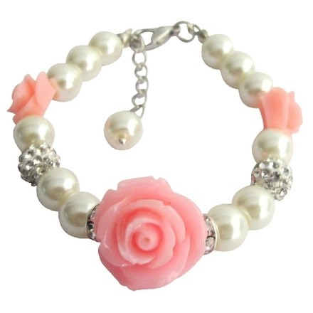 Fashion Jewelry For Everyone Ivory Light Pink Flower Flower Girl Rose Bracelet