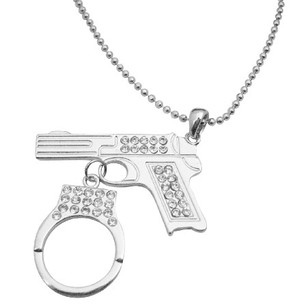 Fashion Jewelry For Everyone Pistol Gun W/ Handcuff Dangling Diamond Gun Pistol Handcuff Necklace