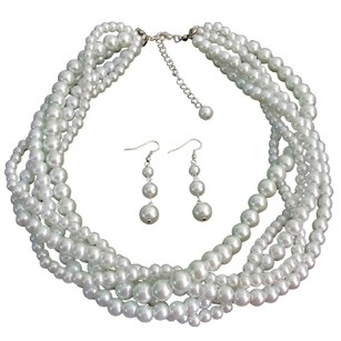 Fashion Jewelry For Everyone White Five Strand Braided Twisted Necklace With Dangling Earrings Bridal Jewelry Set