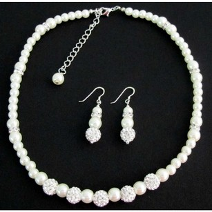 Fashion Jewelry For Everyone White Pearl Rhinestone Necklace Earrings Flower Girl Christmas Birthday Gift