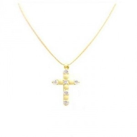 Yelow Gold Embedded Swiss Cz Cross Pendant Jewelry Set