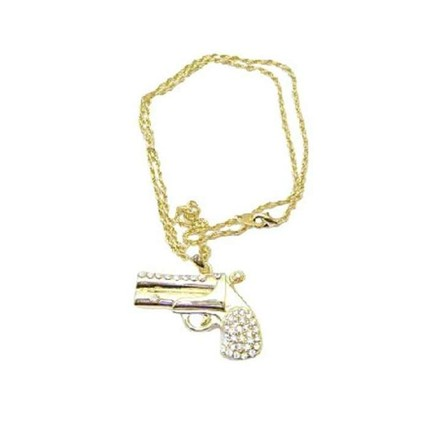 Gold Golden Chain Golden Gun Striking Smashing Pendant Gun Pendant Necklace Jewelry Set