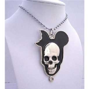 Halloween Necklace Silver Chained Necklace W/ Skull Head Long Necklace