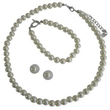 Complete Set Cream Pearls Necklace Earrings Toggle Clasp Bracelet Exclusive Handmade Jewelry