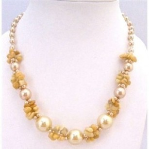 Brown Necklace Accented Yellow Nugget Chips Glass Bead Pearls Fancy Neckalce Jewelry Set