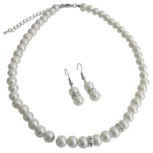 Bridal Jewelry Matron Of Honor Ivory Pearls W/ Diamond Like Spacer