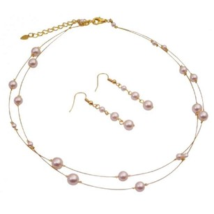 Gold Plated Ivory Pearls Necklace & Earring Sets For Bridesmaid