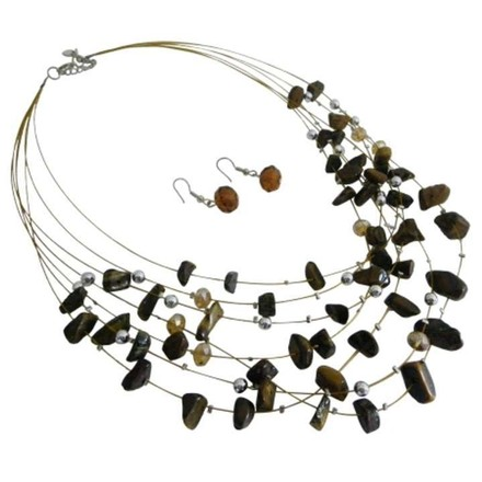 Brown Golden Tiger Nuggets Silver Beads Multi Strand Gold Wire Illusion Jewelry Set