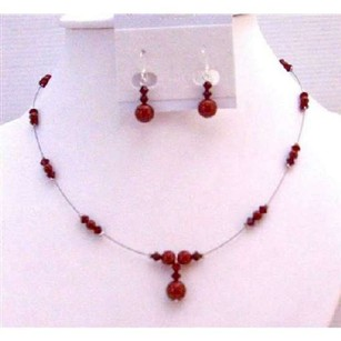 Romantic Wedding Wine Pearls Red Bordeaux & Siam Red Swarovski Jewelry