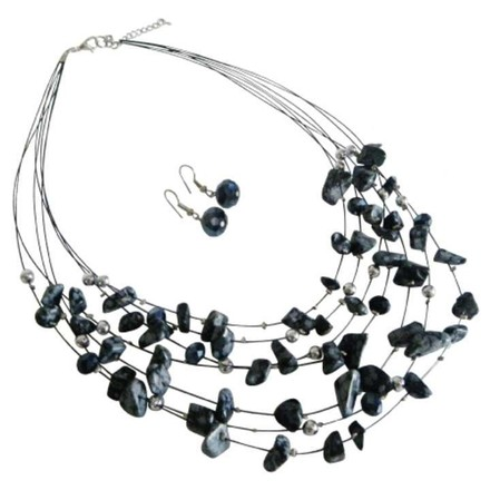 Black Gift Multi Strand Necklace Agate Silver Bead Jewelry Set