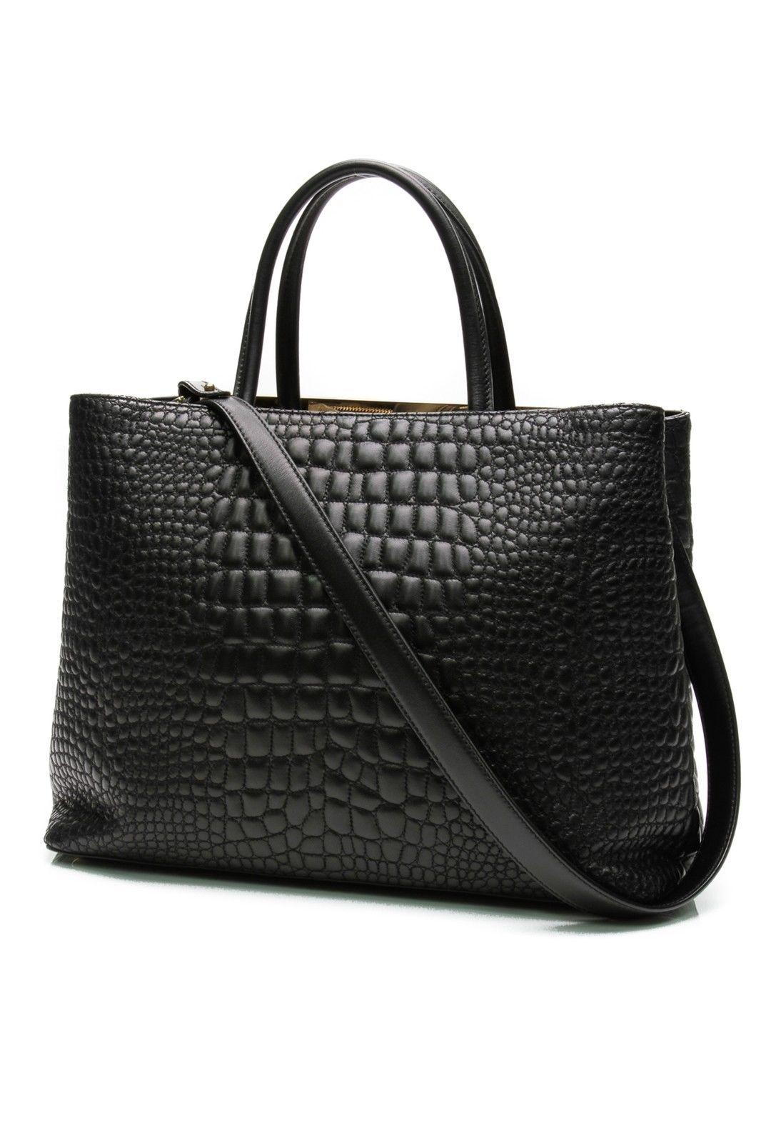 494a3787128 ... low cost fendi 2 jours black croc embossed leather tote tradesy 7c7d8  3f741