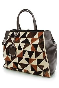 Fendi Brown Leather Cut Tote in Brown, ivory