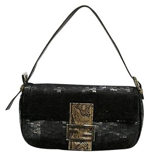 Fendi With Paillettes And Bugle Beads W Snake Strap Closure Baguette