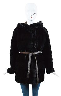 Fendi Dark Fur Leather Tie Belt Long Sleeve Hooded Coat
