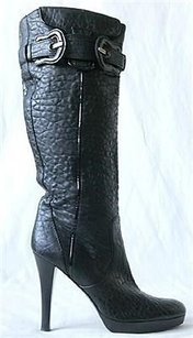 Fendi B Buckle Leather Knee High Heel Black Boots