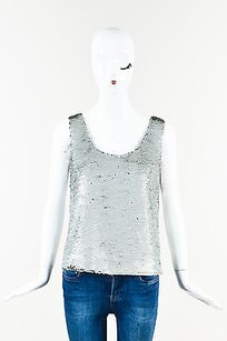 Fendi Metallic Sequin Top Silver