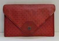 Fendi Vintage Logo Coated Red Clutch