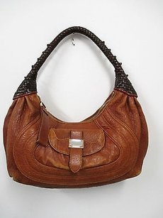 Fendi Distressed Brown Leather With Braided Strap Front Pocket Hobo Bag