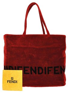 Fendi Logos Hand Tote in Red, Black