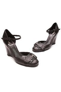 Fendi Leather Buckle Mary Jane Wedge Heels Size 10us Black Pumps