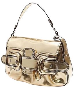 Fendi Mirror Patent Leather B Satchel in Gold