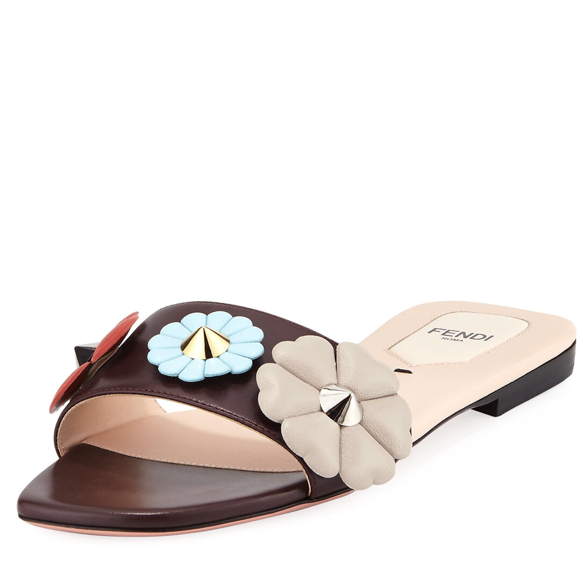 really cheap Fendi Floral Appliqué Slide Sandals for sale top quality free shipping browse wide range of cheap price free shipping manchester great sale eckwcH5T
