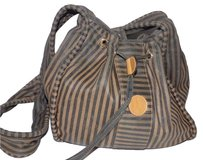 Fendi Top Bucket Satchel in thin stripe print canvas & leather in shades of brown