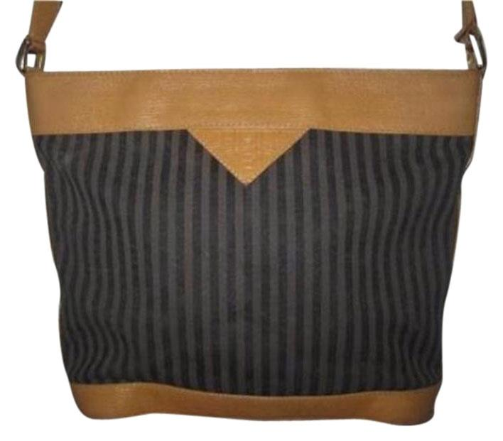 241c2d1e16 ... discount fendi striped bucket leather black grey stripes cross body bag  97779 1e999