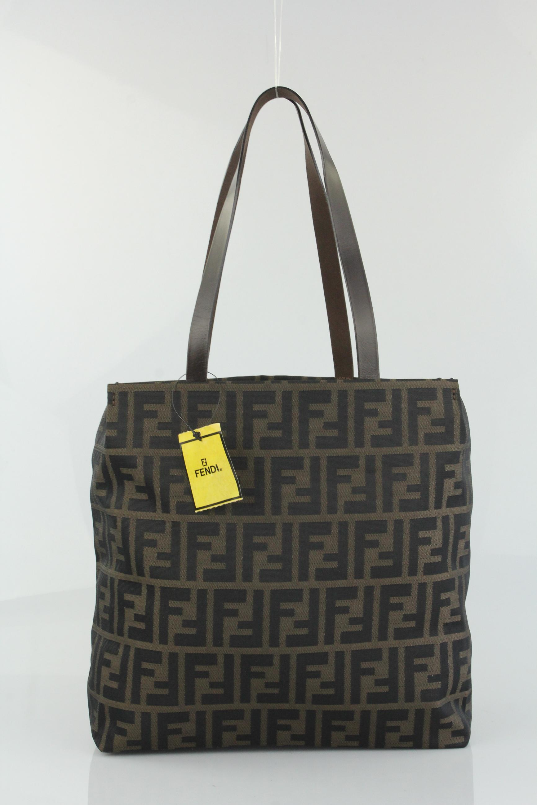 ... bag 51267 ae374 good fendi zucca canvas shopping tote in brown. f0bc6ef639