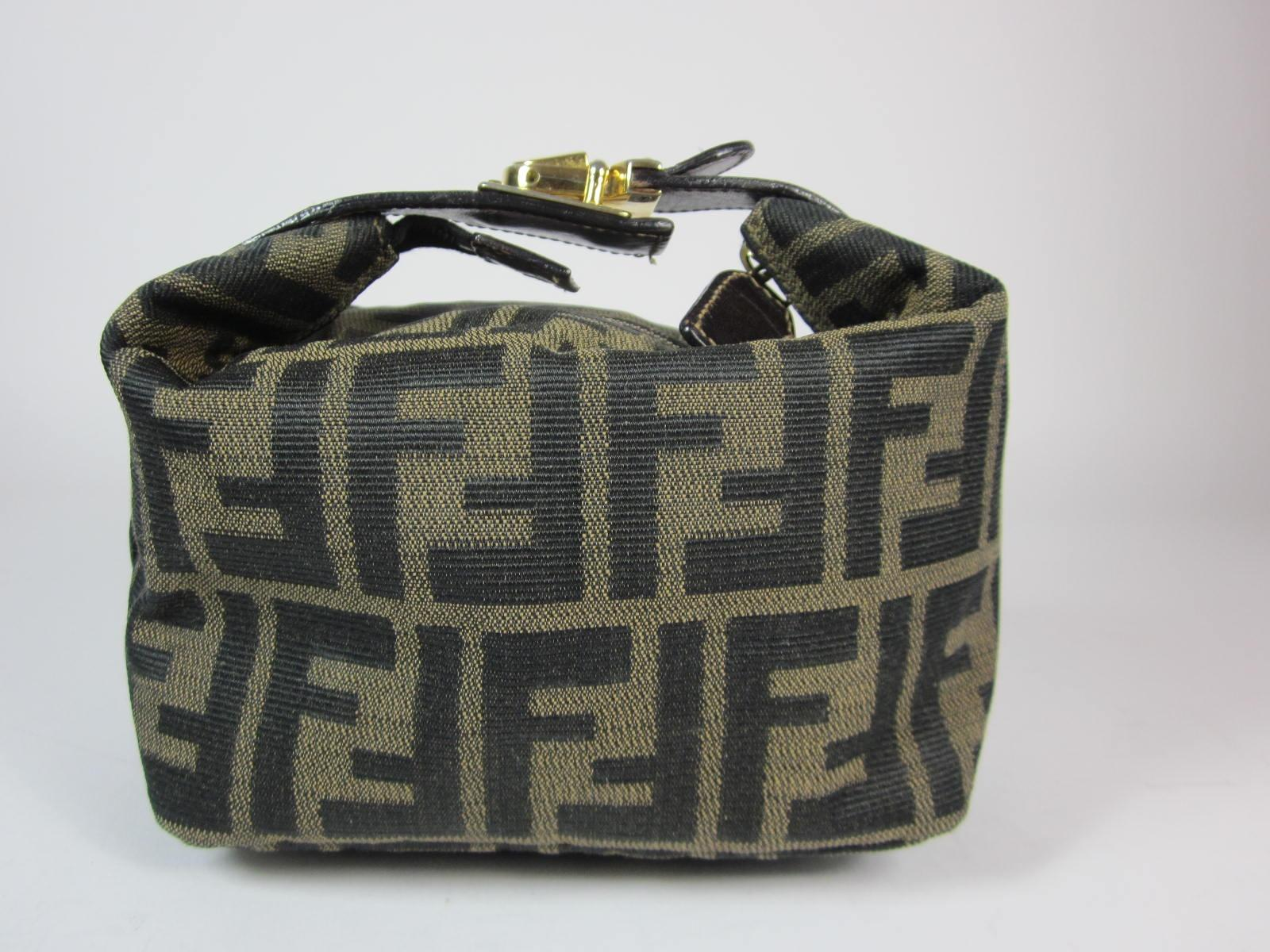 39588e312e6a ... clearance fendi zucca brown monogram ff travel cosmetic bag tradesy  0a805 fa207 real fendi shoulder ...