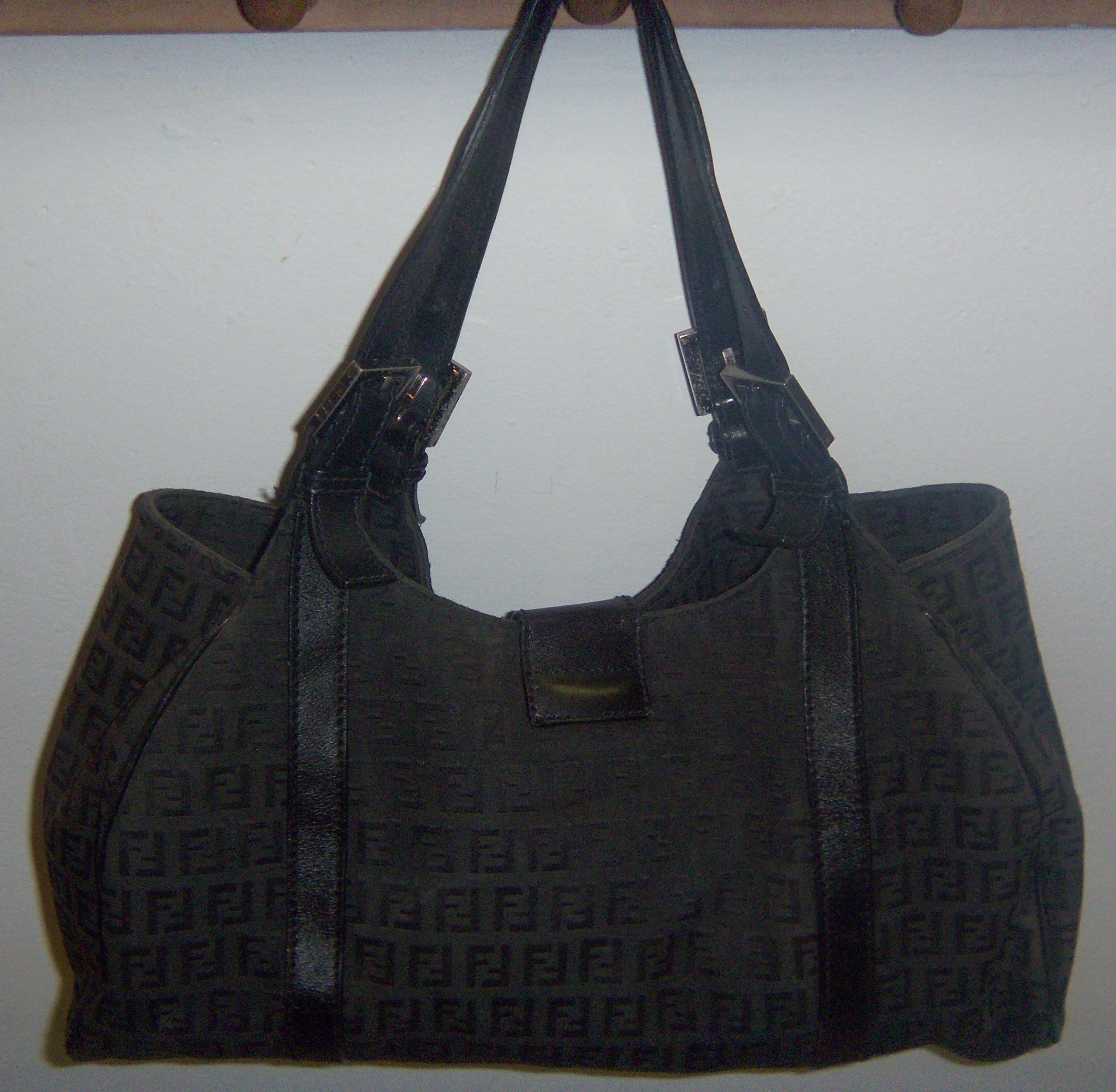 9b56fe5b30e6 ... norway fendi zucchino monogram black canvas leather tote tradesy 60b58  29bba ...