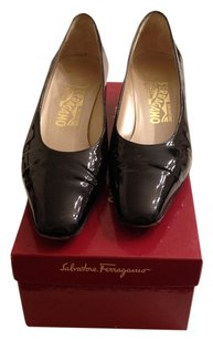 Feragamo Black Patent Leather Pumps