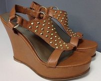 Fergie Leather Gold Brown Platforms