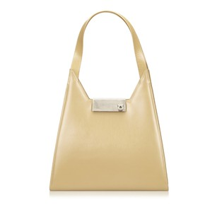 Salvatore Ferragamo Beige Brown Leather Shoulder Bag