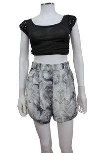 Finders Keepers Rose Print Gone Tomorrow In Grey Mini/Short Shorts gray white